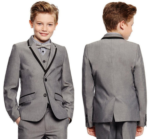 Light Grey Boy's Formal Wear - little-darling-fashion-online