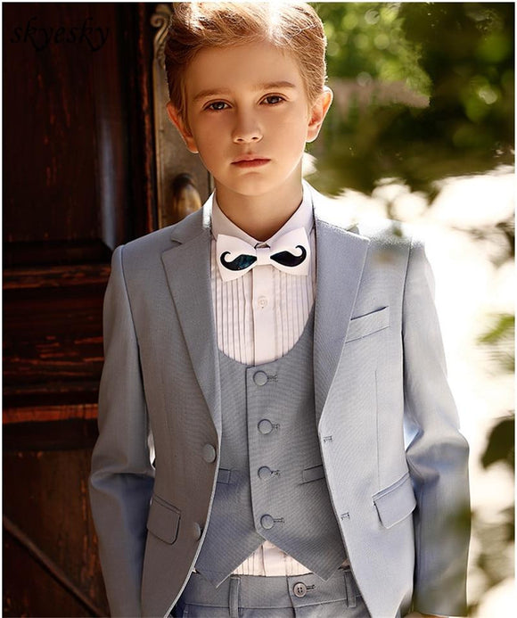Light Gray Kid's 3 Piece Wedding Suits - little-darling-fashion-online