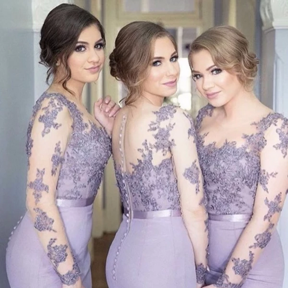 Lace Long Sleeve Mermaid Bridesmaid Dresses - little-darling-fashion-online