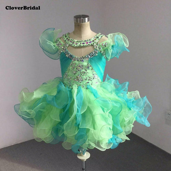 Lime/Jade Cute Ruffled Straps Beaded Pageant Dress
