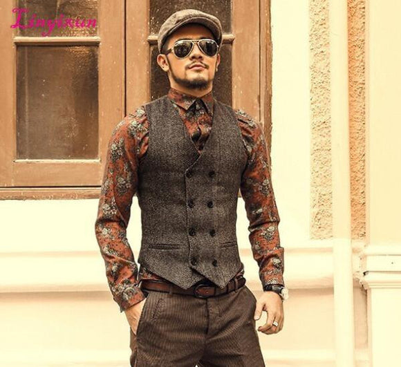 Linyixun Mens Double Breasted Vest