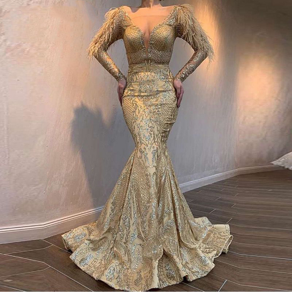 Long Sleeves V Neck Gold Glitter Evening Dress - little-darling-fashion-online