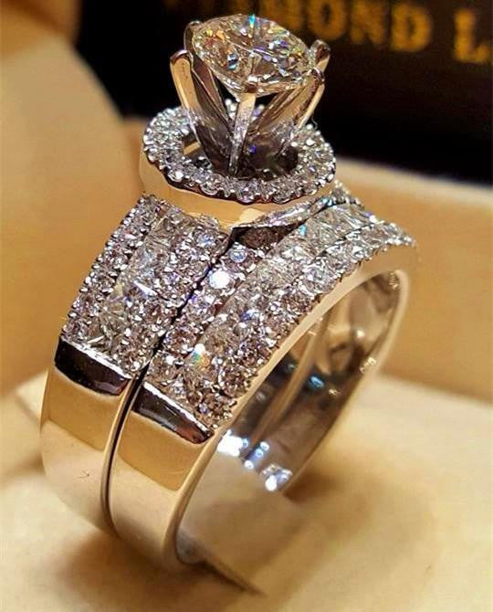 Luxury Crystal Female Big Queen Ring Set