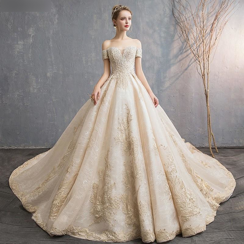 Luxury Lace Champagne Wedding Dresses 2019 By Pickaproduct