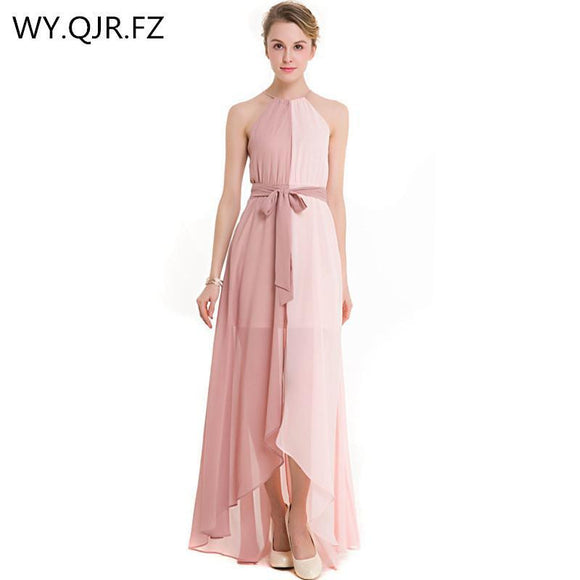 MCQY632#Halter New bridesmaid dresses for 2017 long Khaki and pink assorted colors chiffon bride's wedding toast dress wholesale