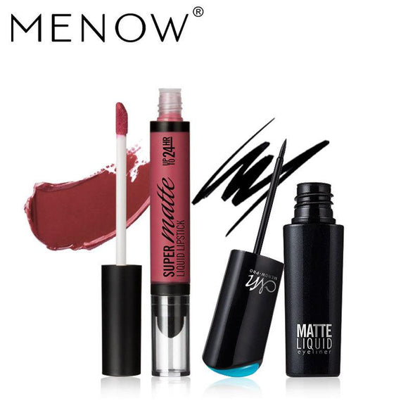 MENOW 2 PceMakeup Set (Liquid Lipstick+Eyeliner) by Pick a Product