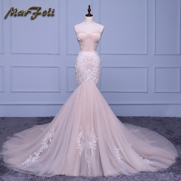 Luxury Mermaid Wedding Dress with Court Train