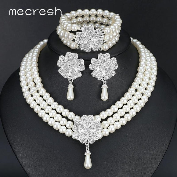 3 Piece Round Imitated Pearl Bridal Jewellery Set by Pick a Product