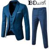 Men Slim Fit Suit Mens 3 Piece Suit (Jacket+Pant+Vest) - little-darling-fashion-online