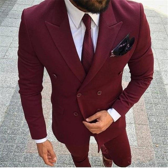 Men Suits Burgundy (Jacket+Pants)