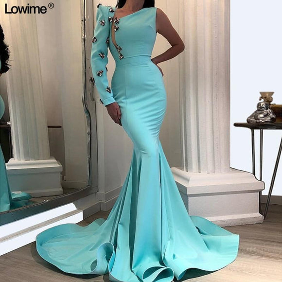 Flowers Ruffles One Shoulder Long Sleeves Prom Dress - little-darling-fashion-online