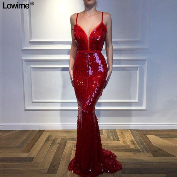Mermaid Red Sequined Evening Dresses Evening Dresses - little-darling-fashion-online