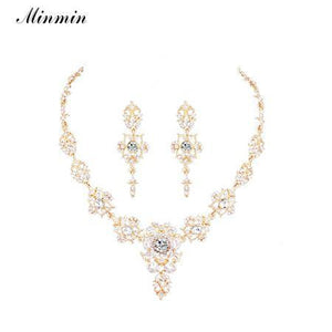 Minmin Classic Crystal Bridal Jewelry Set - little-darling-fashion-online