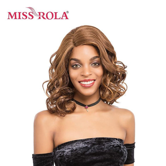 Miss Rola Short Wavy Synthetic Hair Lace Front Wig 14 Inch Side Parting Women Wigs Heat Resistant Blonde Color F27/30/33#