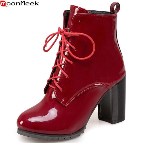 MoonMeek Black Blue Wine Red Winter Ankle Boots by Pick a Product