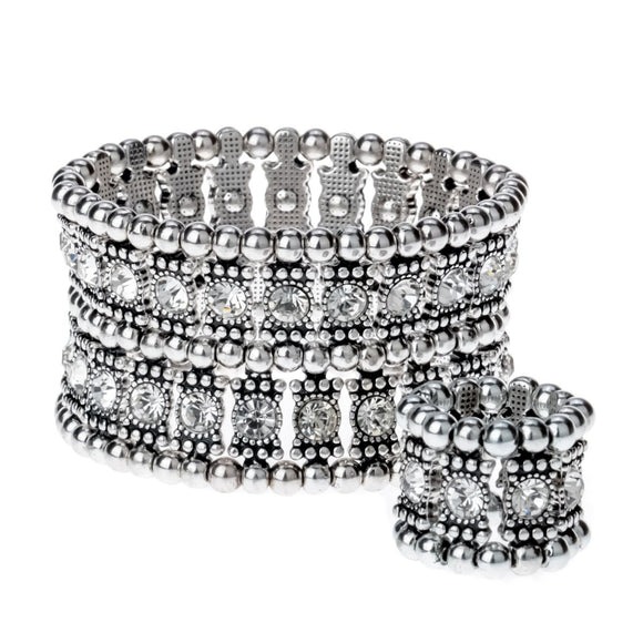 Multilayer stretch cuff bracelet ring sets by Pick a Product