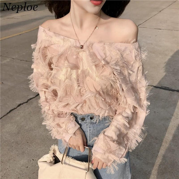 Neploe Korean Fashion Feather Patchwork Women Blouse 2018 Newly Sexy Slash neck Elegant Shirts Spring Female Blusas 66936