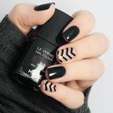 Black Striped 3D False Sticker Nail Tips with Glue Gel