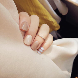 Coffee 3D False Sticker Nail Tips with Glue Gel - little-darling-fashion-online