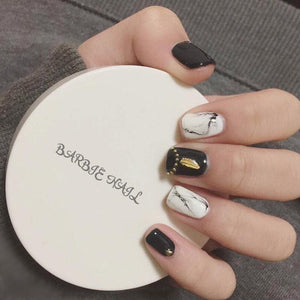 Cool Engraved 3D DIY False Sticker Nail Tips with Glue Gel