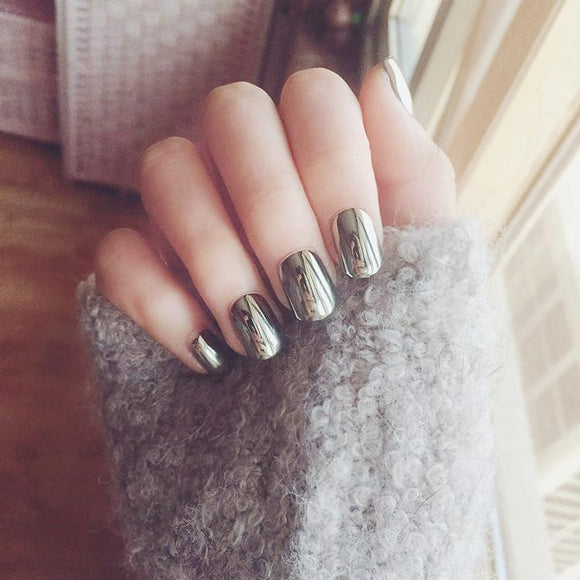Punk Metallic Grey Short False Sticker Nail Tips with Glue Gel - little-darling-fashion-online