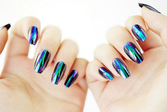 Mirror 3D DIY False Sticker Nail Tips with Glue Gel