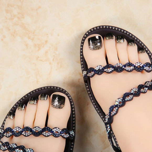 New 24 Pcs Black Shimmer Cute False Toe Nails