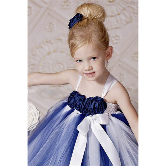 New Arrival Navy Blue and White Flower Girl Dress by Pick a Product