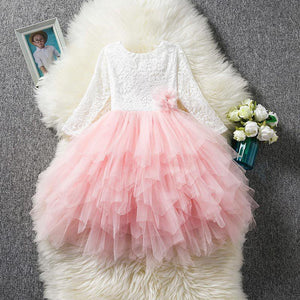 Pink Lace Tiered Flower Girl Dress (3-8 Years) by Pick a Product