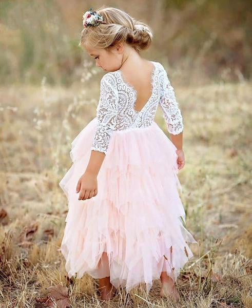 Pink Lace Tiered Flower Girl Dress (3-8 Years) - little-darling-fashion-online
