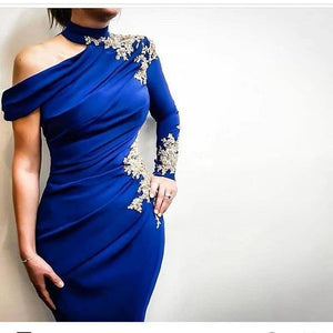 Royal Blue Arabic Lace Evening Dresses 2019