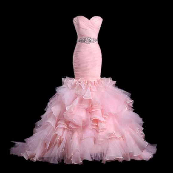 Trumpet Organza Prom Dresss with Court Train - little-darling-fashion-online