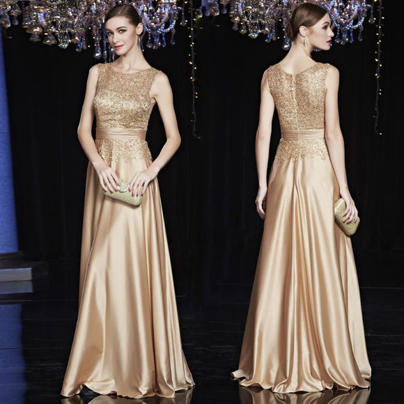 Sparkly Noble Lace Long Gold Sequin Bridesmaid Dress