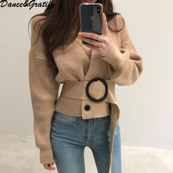 New Autumn Winter High Quality Women Double Breasted Oversized Loose Cardigans