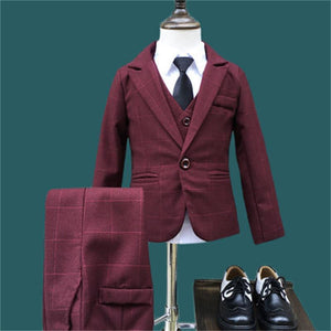 Boys Formal Plaid Burgundy 3 Pce Suit - little-darling-fashion-online