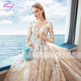 New Design Glamorous Appliques Chapel Train A-Line Wedding Dress - little-darling-fashion-online