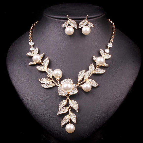 New Fashion Gold Color Bridal Necklace+Earrings by Pick a Product