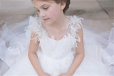 New Pure White Tulle Lace Arabic Flower Girl Dress