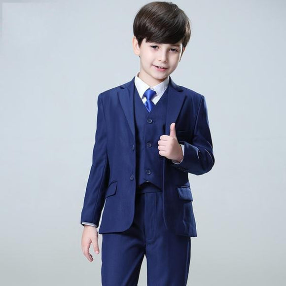 Boys Blue Suit for Wedding (Jacket+Vest+Pants) - little-darling-fashion-online