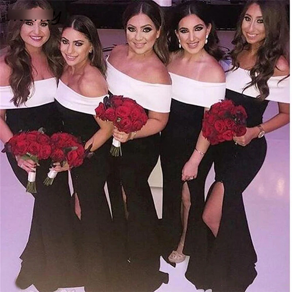 Off the Shoulder Black and White Bridesmaids Dresses by PickAProduct