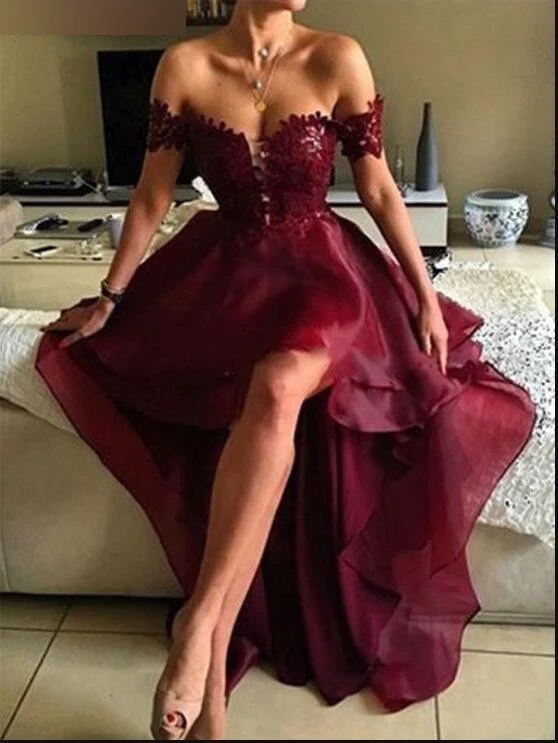 Off the Shoulder High Low Wine Red Prom Dress by PickAProduct