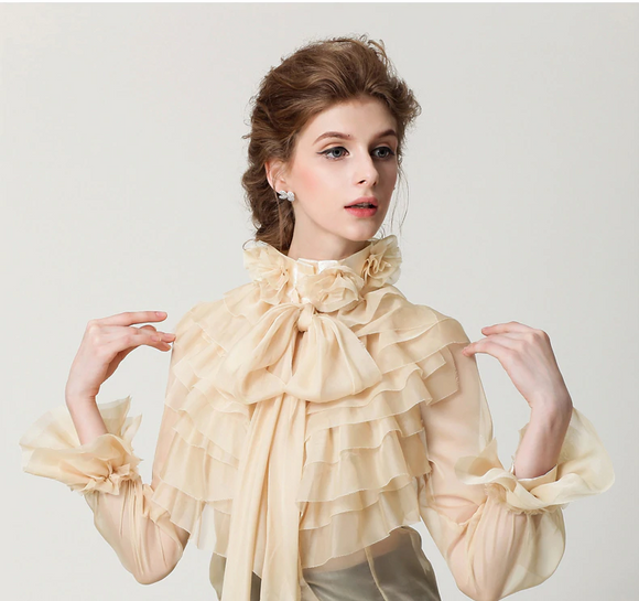 Office Lady High Neck Chiffon See Through Blouse - little-darling-fashion-online