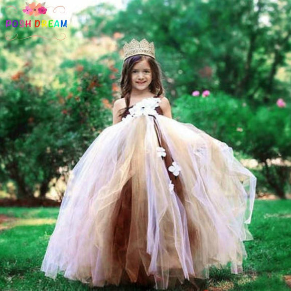 POSH DREAM Brown Ivory Gold Tutu Dress by Pick a Product