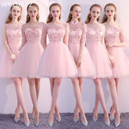 PTH-KBS#Pink Boat Neck short lace up Bridesmaid Dresses A-Line wedding party dress 2018 summer wholesale fashion girl prom gown