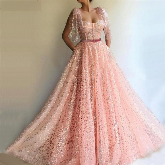 Peach Sequined Sashes Evening Dresses 2019