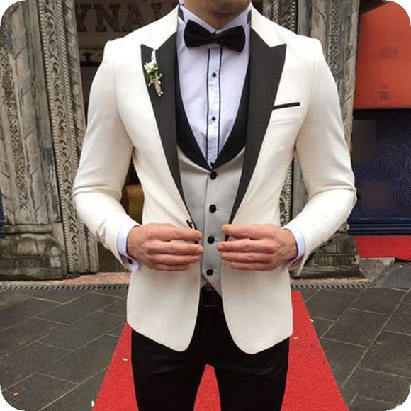 Peak Lapel Mens Wedding Suit (Jacket+Pants+Tie+Vest) - little-darling-fashion-online
