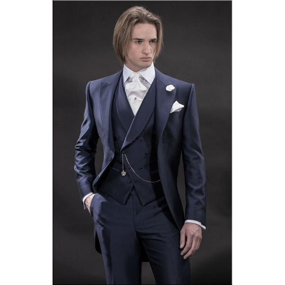 Peaked Lapel One Button Tailed Coat Men Suits by Pick a Product
