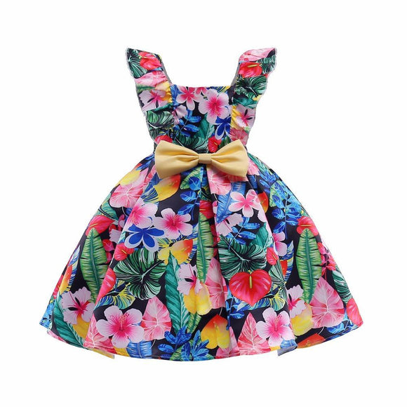 Pretty Ball Gown Flower Girl Dresses 2018 Cutton Dresses For Girls Printed Kids Prom Dresses vestidos infantil de festa