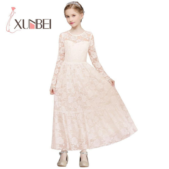 Princess Floor Length Lace Flower Girl Dresses 2018 Long Sleeves Girls Pageant Dresses First Communion Dresses Party Dress - little-darling-fashion-online