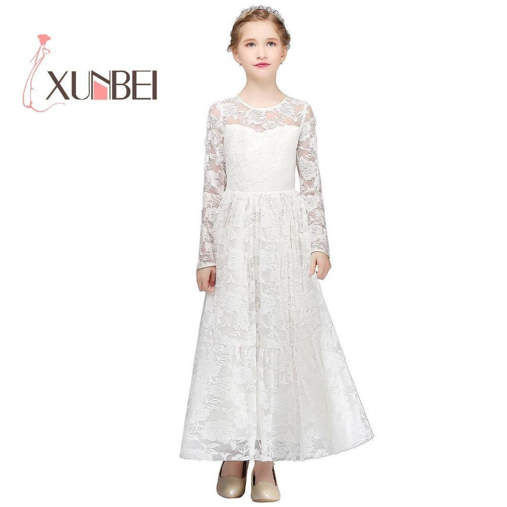 a33c9f6a ... Princess Floor Length Lace Flower Girl Dresses 2018 Long Sleeves Girls  Pageant Dresses First Communion Dresses ...